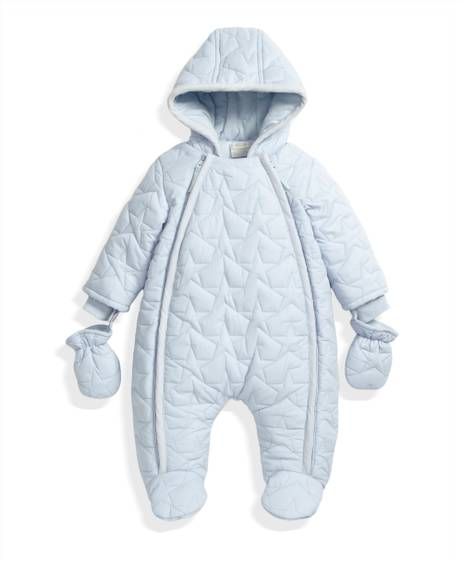 Quilted Pramsuit Blue- 0-3
