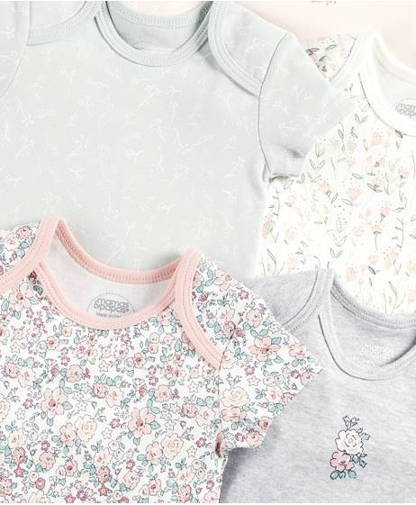 Floral Short Sleeved Bodysuits (Set of 5)