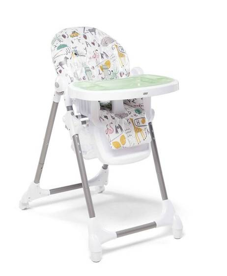 Snax Adjustable Highchair with Removable Tray Insert - Alphabet Silver