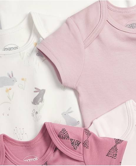 Short Sleeved Bunny Bodysuits (5 Pack)