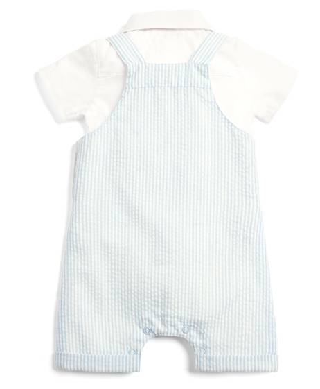 Seersucker Dungaree and Shirt - 3 Piece Set