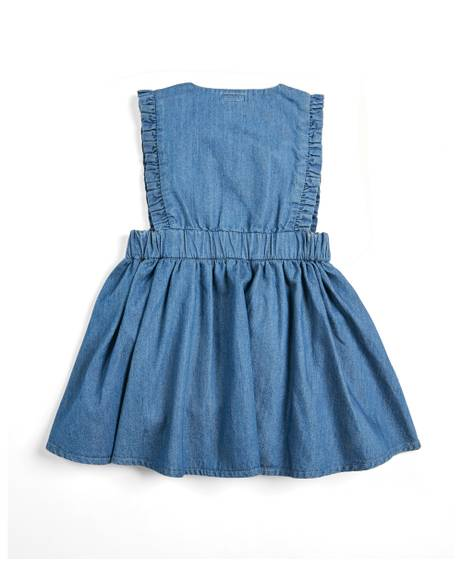 Embroidered Denim Pinafore Dress