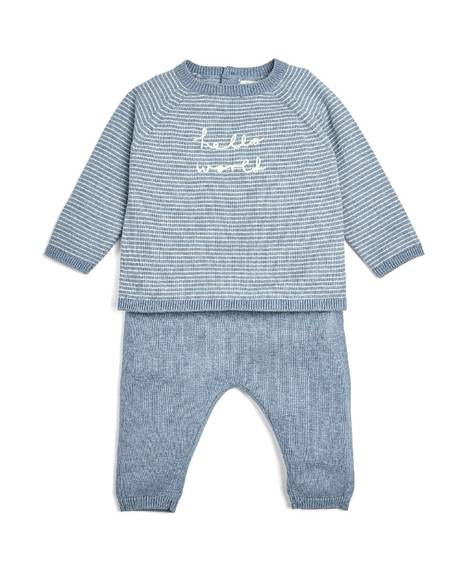 Blue Hello World Knitted Set - 2 Piece