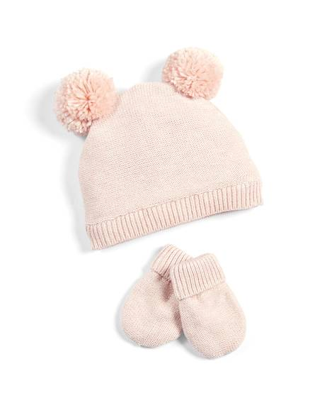 Textured Knit Hat & Mitts - Pink