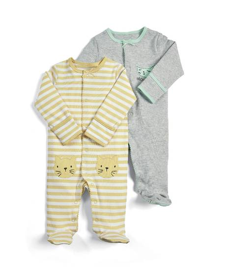 Cat Sleepsuits - 2 Pack