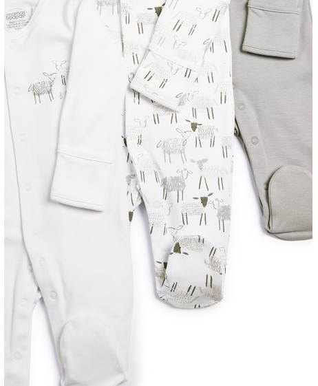 Sheep Sleepsuits - 3 Pack