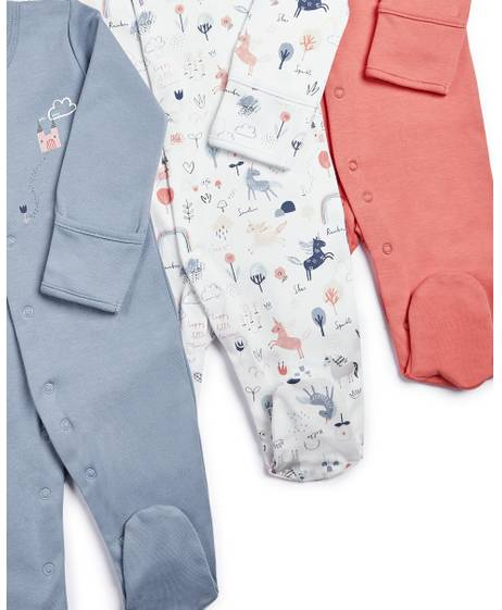 Unicorn Sleepsuits - 3 Pack