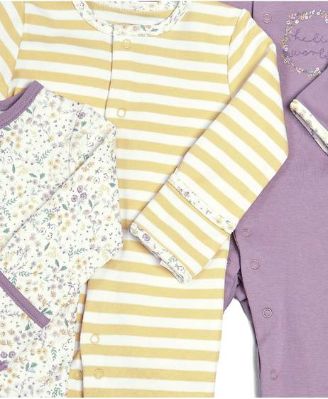 Floral Sleepsuits - 3 Pack