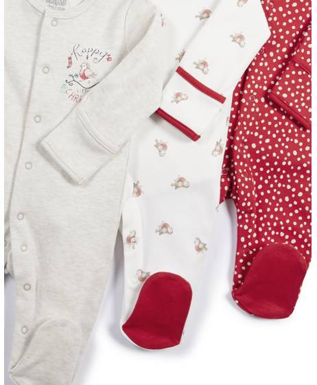 Christmas Robin Sleepsuits - 3 Pack