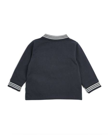 Long Sleeve Knitted Polo Shirt - Blue