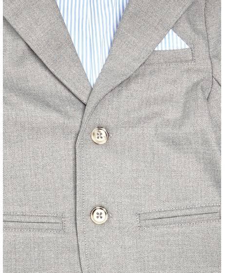 Grey Herringbone Fabric Blazer