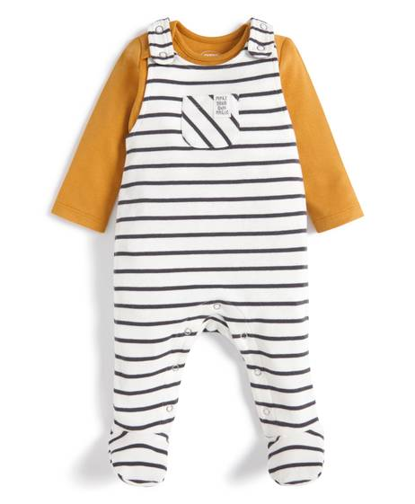 Striped Dungarees & T-Shirt - 2 Piece Set