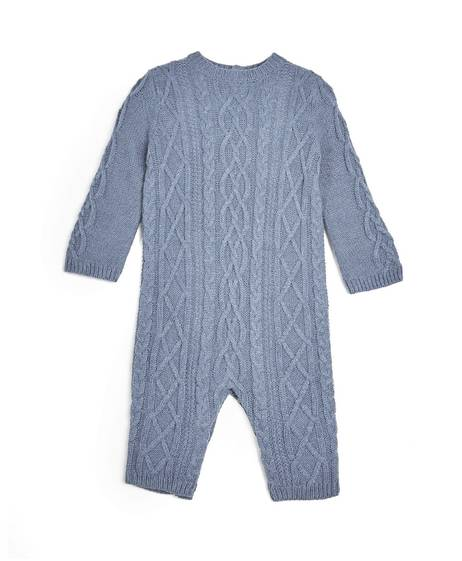 Cable Knit Romper - Blue