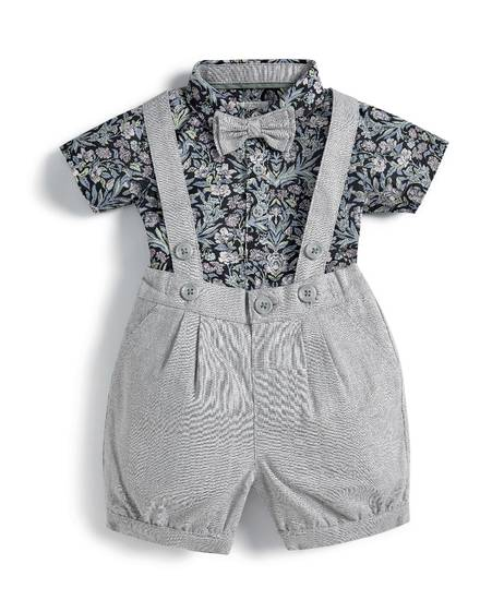 Liberty London Sea Grass Woven Shirt, Bloomers & Bowtie - 3 Piece Set