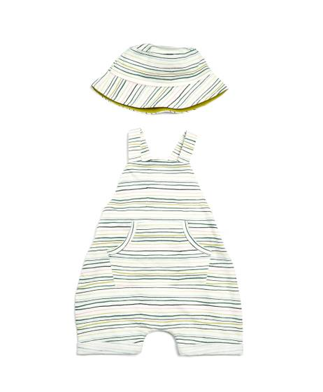 Striped Romper & Hat - 2 Piece Set