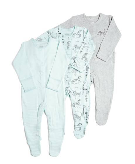 Zoo Animal Sleepsuits - 3 Pack