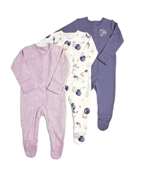 3 Pack of Space Sleepsuits