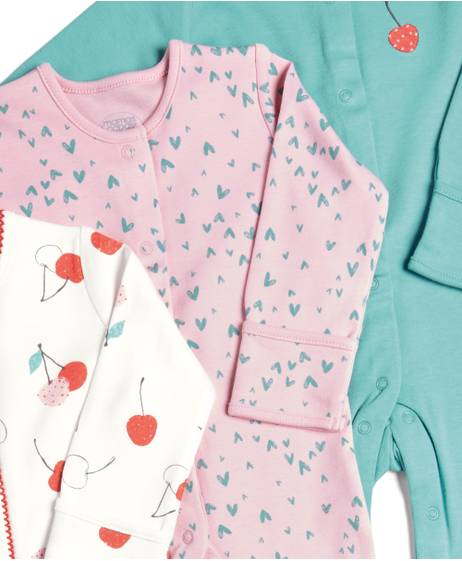 Cherries Sleepsuits - 3 Pack