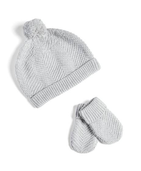 Grey Knitted Striped Hats & Mitts