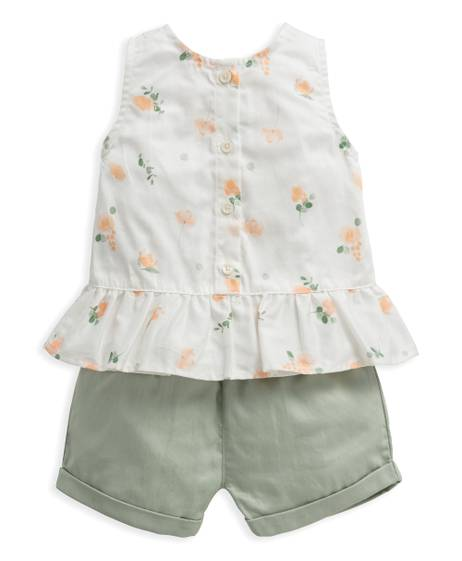 2 Piece Floral Print Top & Shorts Set