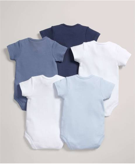 5 pack Mix Short Sleeve Bodysuits Blue- 0-3