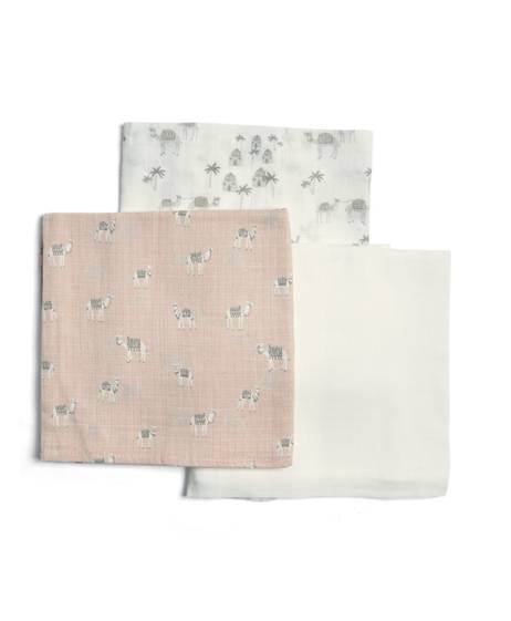 Large Pink Camel Muslin Squares (Pack of 3)