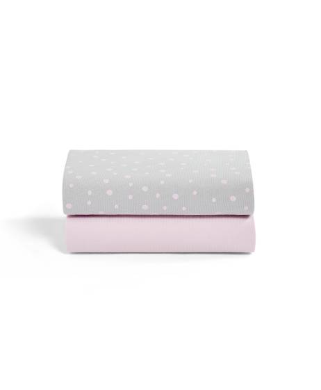 2 Pack Crib Fitted Sheets - Rose Spots