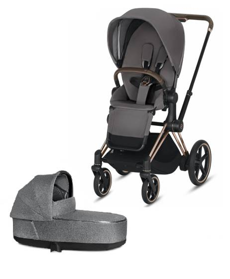 ePRIAM Rosegold stroller with Manhattan Grey seat pack and Carrycot
