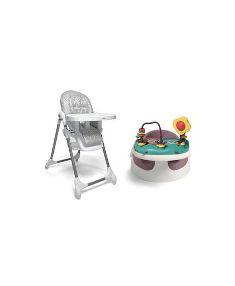 Baby Snug - Dusky Rose & Snax Highchair - Grey Spot